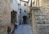 Typical alley with a passage ...