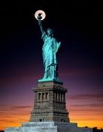 Statue of Liberty, full moon,...