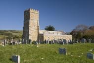 Church and graveyard in sunsh...
