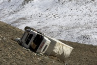 Overturned Chinese truck that...