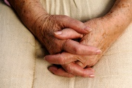 Wrinkly hands of an old woman...