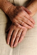 Wrinkly hands of a old woman,...