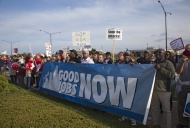 Union members picket a Republ...