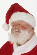 Santa Claus with lipstick on ...