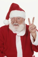 Santa Claus making peace sign...