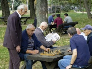 Pensioners playing chess, Bel...