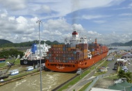 Container ship at the Miraflo...