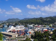 Townscape of Castries and the...