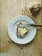 Plate with bread and butter