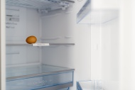 One brown egg in open fridge