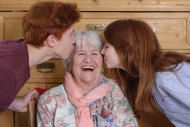 Grandmother getting a kiss fr...