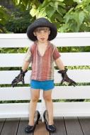 Portrait of little boy dressi...