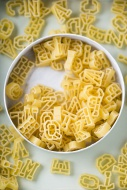 Can of alphabet pasta