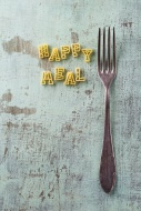 Pasta letters and a fork