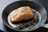 Fried salmon fillet in a fryi...