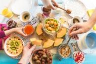 Breakfast, laid table, fresh ...