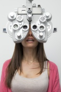 Woman at the optometrist maki...