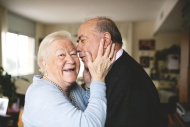 Affectionate senior couple at...