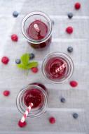 Three glasses of raspberry bl...