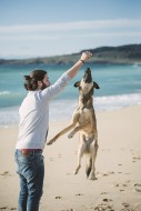 Man playing with his mongrel ...