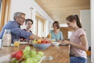 Family having breakfast at home