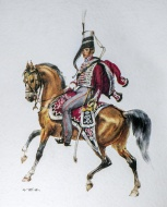 Hussar officer on horseback i...