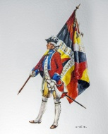 Soldier with flag of the Swis...