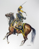 Swedish officer on horseback ...