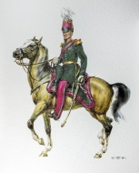 Belgian officer on horseback ...