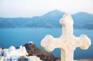 Greece, Milos, Church cross o...