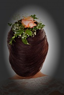 Hair design, lofty hair with ...