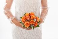 Bride holding bridal bouquet,...