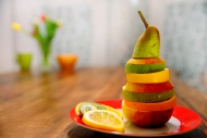 Slices of various fruits stac...