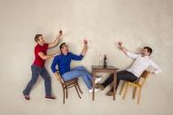 Friends celebrating together,...