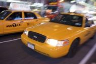 Taxi, blurred, New York, USA