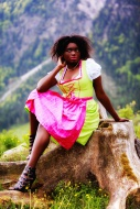 African-American woman in dirndl