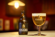 Ename blond beer glass and be...