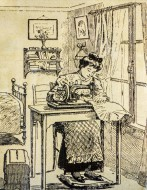 Drawing showing woman at home...