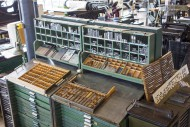 Type case in composing room a...
