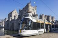 Tram of De Lijn in front of m...