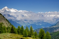 Snow-capped mountain and clou...