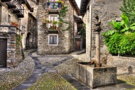 Rustic village with a water w...