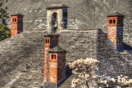 Stone roof with chimney and b...
