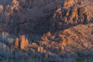 Rock formation and Kasbah rui...
