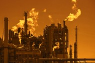 Industrial estate at sunset w...