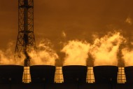 Smoke from chimneys at sunset...