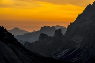 Mountain ranges at sunset in ...