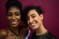 Two latin young women in the ...