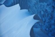 Snow drift at a mountain hut ...