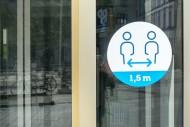 Sticker on shop window indica...